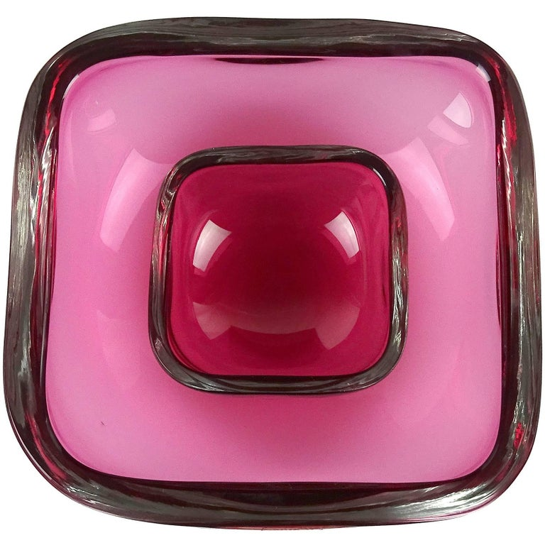 Oggetti Murano Sommerso Pink Italian Art Glass Decorative Bowl Dish Set For Sale
