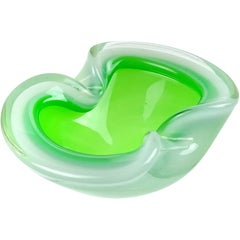 Murano Opalescent Green White Sommerso Italian Art Glass Bowl Ashtray Dish