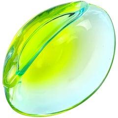 Cenedese Murano Sommerso Yellow Green Italian Art Glass Conch Seashell Bowl