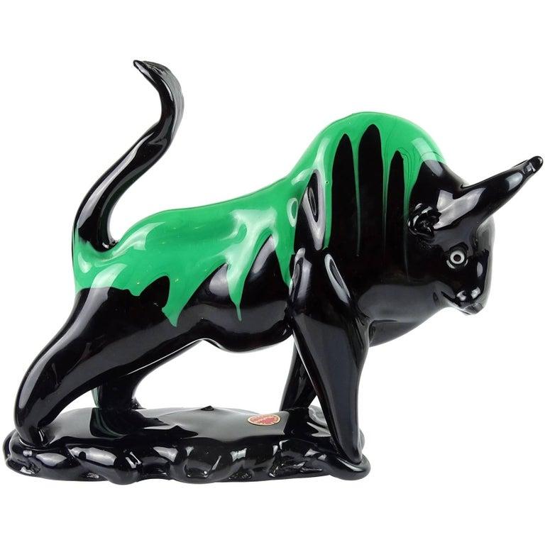 Murano Black Green Drip Taurus Bull Italian Art Glass Figure Sculpture For Sale
