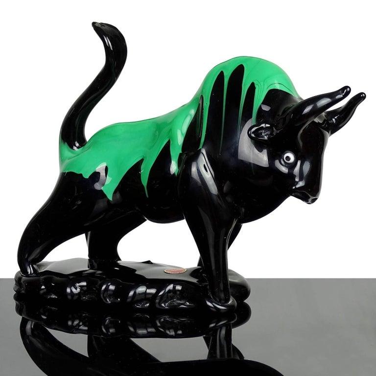 Hand-Crafted Murano Black Green Drip Taurus Bull Italian Art Glass Figure Sculpture For Sale