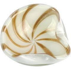 Alfredo Barbini Murano White Gold Aventurine Stripes Italian Art Glass Bowl Dish