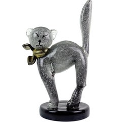 Alfredo Barbini Murano Gray Gold Flecks Italian Art Glass Kitty Cat Sculpture