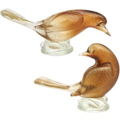 Archimede Seguso Murano Amber Gold Flecks Italian Art Glass Dove Birds Figures