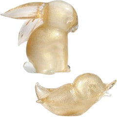 Archimede Seguso Murano White Gold Flecks Italian Art Glass Rabbit Bird Figures