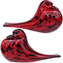 Archimede Seguso Murano Red Black Italian Art Glass Bird Figurine Sculptures