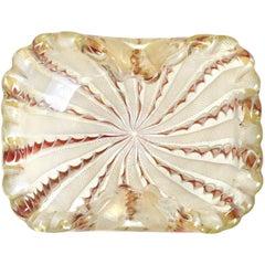 Fratelli Toso Murano White Copper Aventurine Ribbons Gold Italian Art Glass Bowl