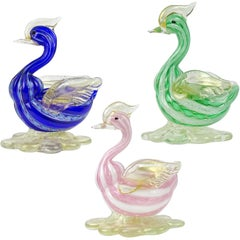 Murano Blue Green Pink Gold Flecks Italian Art Glass Bird Figurine Sculptures