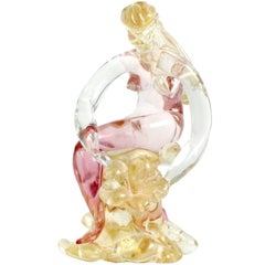 Murano Sommerso Pink Gold Flecks Italian Art Glass Nude Woman Nymph Figurine