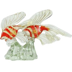 Murano Orange Gold Fleck Fancy Goldfish Italian Art Glass Centerpiece Sculpture