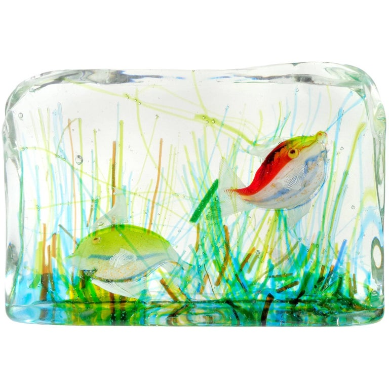 Cenedese Murano Yellow Red Gold Fish Italian Art Glass Aquarium Block Sculpture For Sale