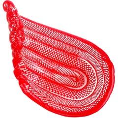 Murano Bright Red Coiled Ribbons Net Design Italian Art Glass Bowl Dish