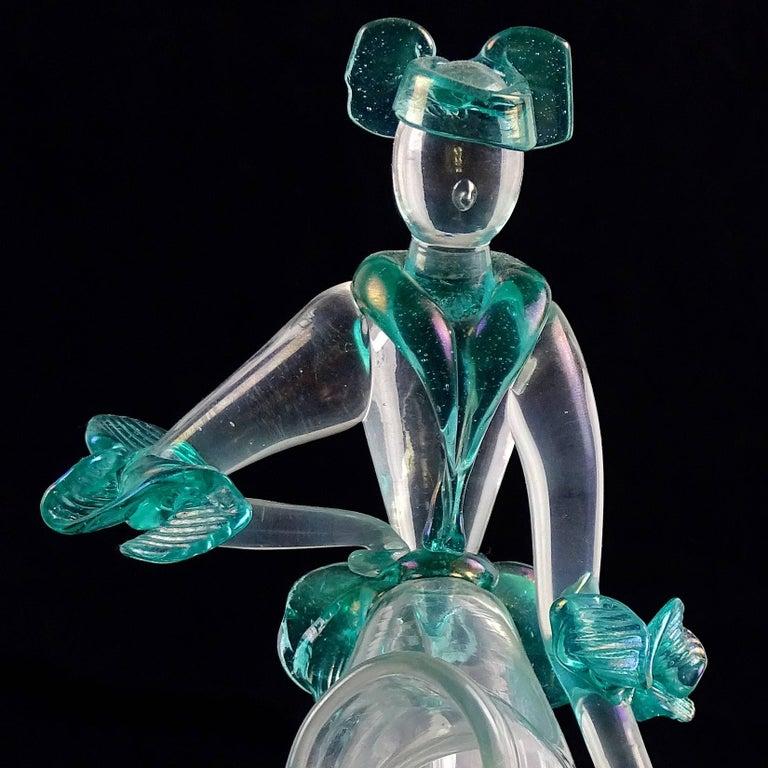 Art Deco Flavio Poli Seguso Vetri d'Arte Murano Iridescent Italian Art Glass Sculpture For Sale