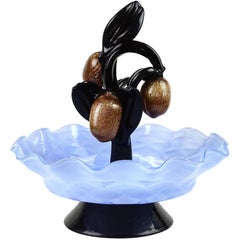 Murano Aventurine Fruit Blue Bowl Black Leafs Italian Art Glass Figure Sculpture