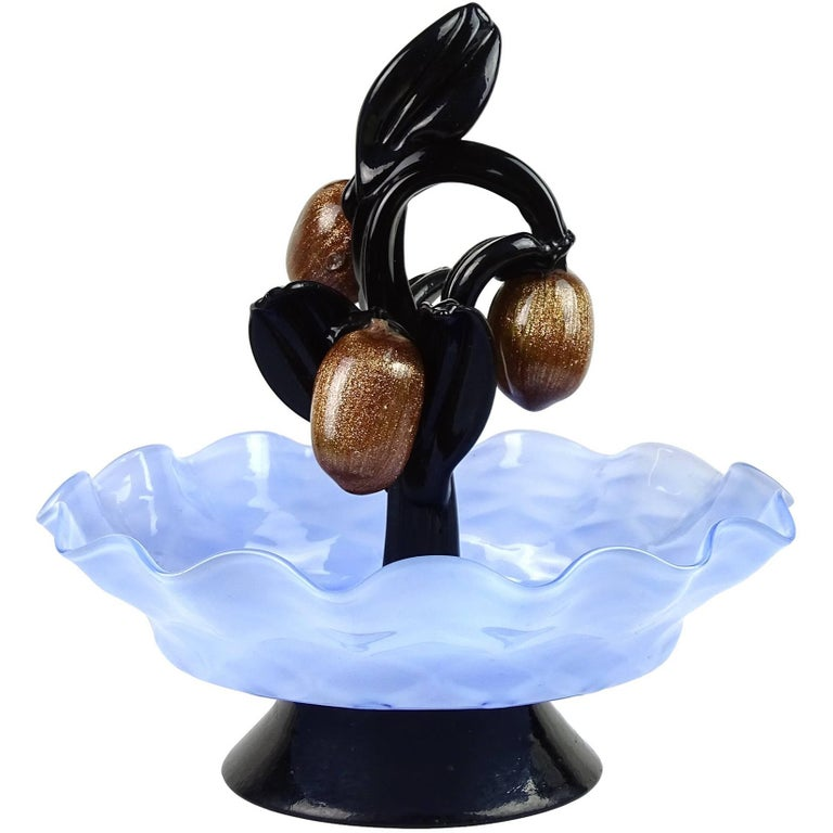 Murano Aventurine Fruit Blue Bowl Black Leafs Italian Art Glass Figure Sculpture For Sale