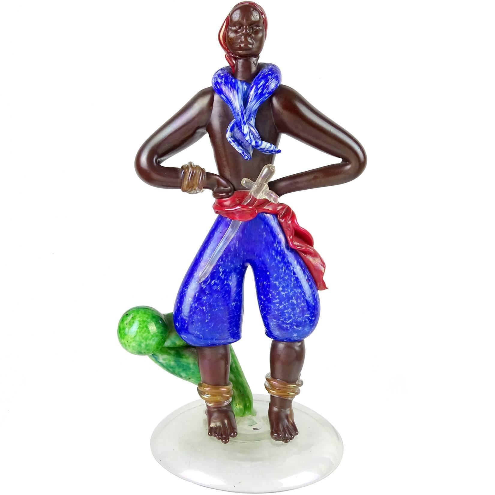 Barovier Seguso Ferro Murano Iridescent Italian Art Glass Pirate Sculpture