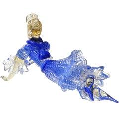 Seguso Vetri d'Arte Murano Blue Stripes Dress Italian Art Glass Ballerina Figure