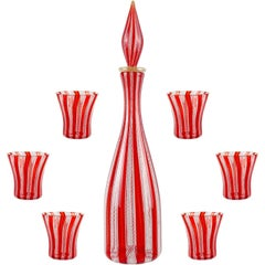 Murano Red White Zanfirico Ribbons Italian Art Glass Decanter Shot Glasses Set