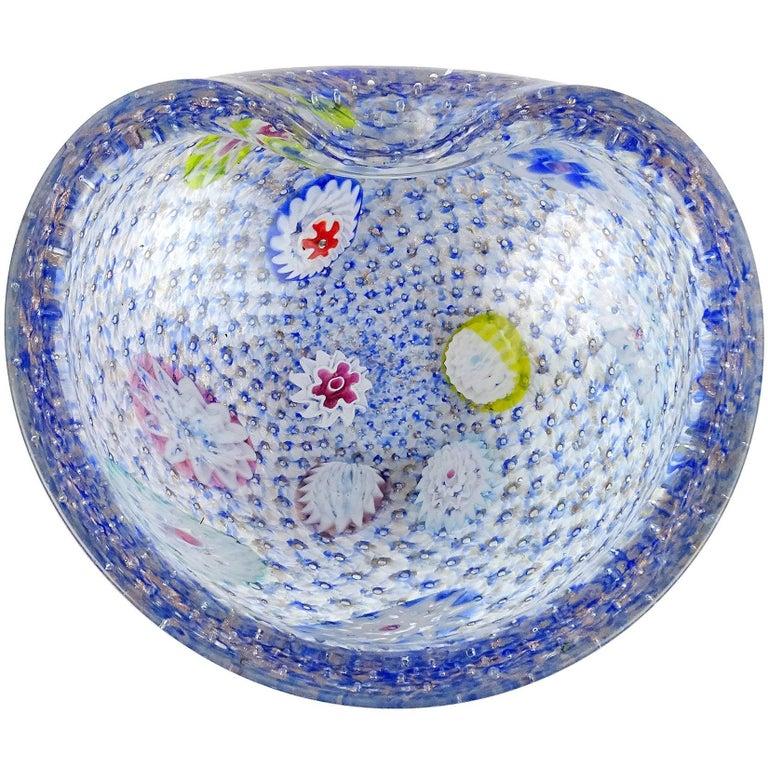 Mid-Century Modern Fratelli Toso Murano Blue Millefiori Italian Art Glass Tree Sculptures Bowl For Sale