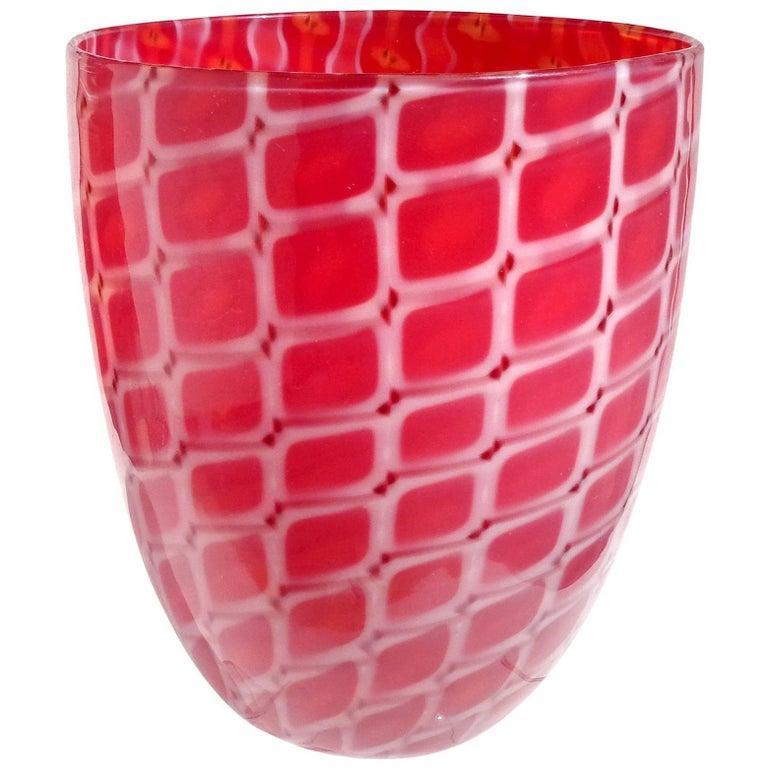 Archimede Seguso Murano 1952 Red White Opal Italian Art Glass Flower Vase For Sale