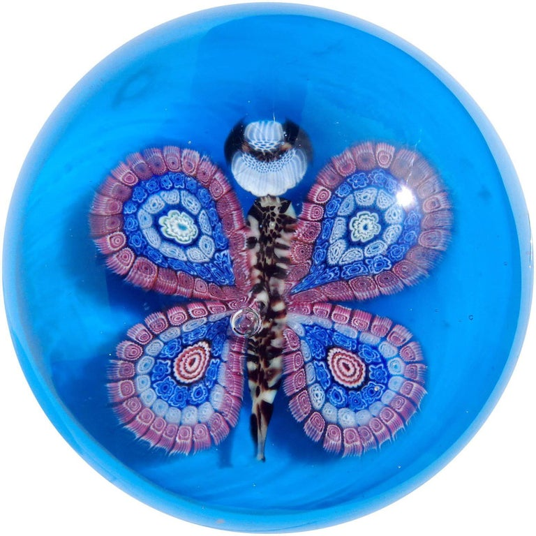 Murano Blue Millefiori Flower Mosaic Italian Art Glass Butterfly Paperweight For Sale