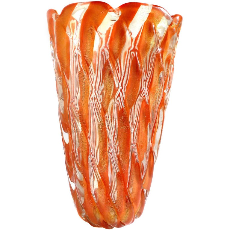 Alfredo Barbini Murano 1950s Orange Stripes Gold Flecks Italian Art Glass Vase For Sale