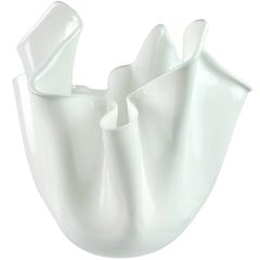 Fulvio Bianconi Venini Murano Lattimo White Italian Art Glass Fazzoletto Vase