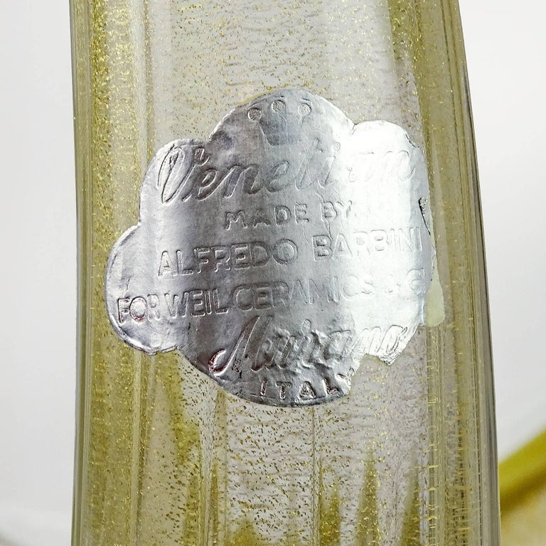 Alfredo Barbini Murano Olive Gold Flecks Italian Art Glass Pheasant Sculpture For Sale 1