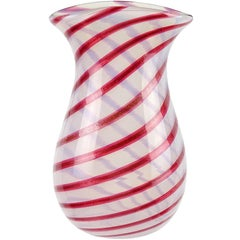 Murano Opalescent White Red Aventurine Flecks Italian Art Glass Flower Vase