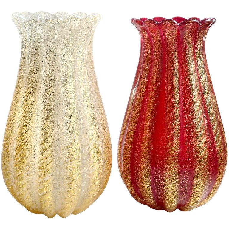 Ercole Barovier Toso Murano Red and White Gold Flecks Italian Art Glass Vases For Sale
