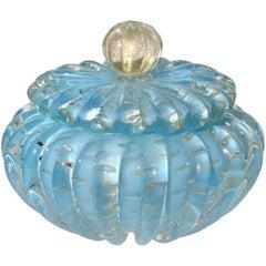 Alfredo Barbini Murano Blue Gold Flecks Italian Art Glass Vanity Powder Box