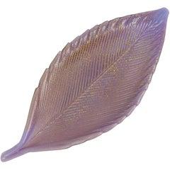 Salviati Murano 1950s Purple Gold Flecks Italian Art Glass Vanity Ring Leaf Bowl