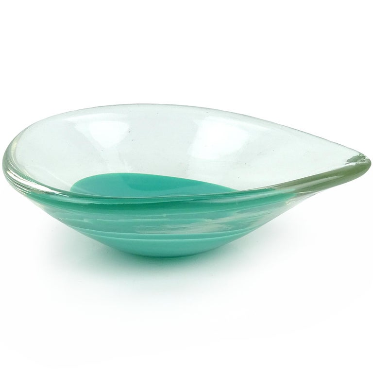 Mid-Century Modern Venini Murano Signed Teal Green Blue Italian Art Glass Teardrop Ring Dishes For Sale
