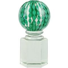 Paolo Venini Signed Murano Teal Filigrana Ribbons Italian Art Glass Paperweight
