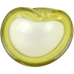 Alfredo Barbini Murano Olive Green Gold Italian Art Glass Decorative Bowl Dish