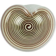 Murano Gold Flecks Optic Swirl Pulegoso Bubbles Italian Art Glass Dish Bowl