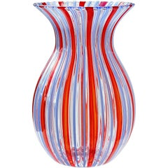 Murano Clear, Red and Blue Ribbons Italian Art Glass Flower Vase