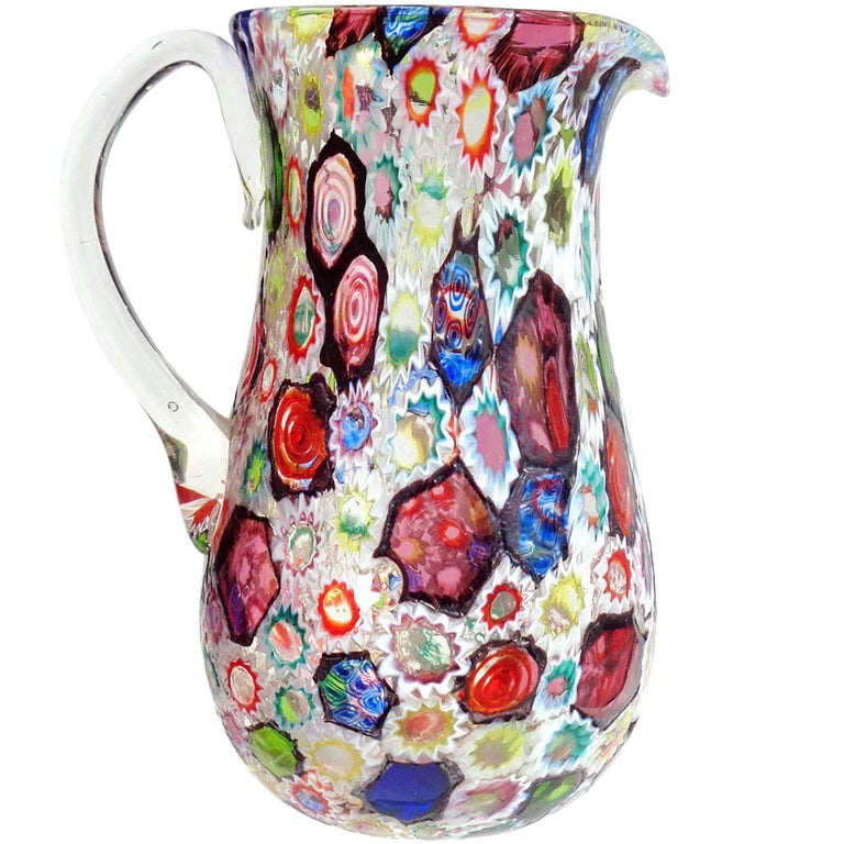 20th Century Fratelli Toso Murano Black Millefiori Flower Mosaic Italian Art Glass Pitcher For Sale