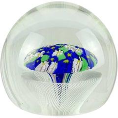 Fratelli Toso Murano Wild Flowers Ribbon Basket Italian Art Glass Paperweight