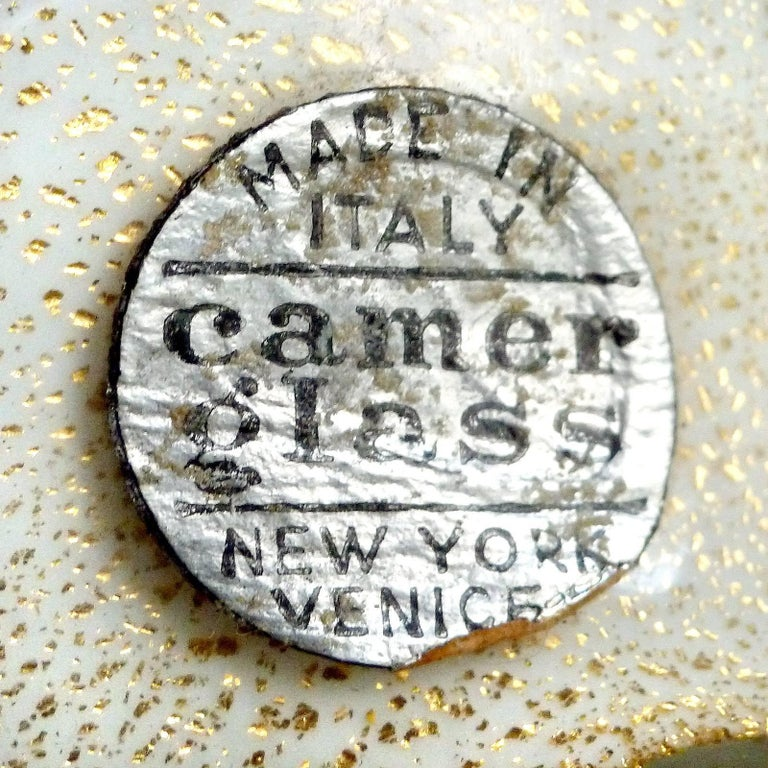 Mid-20th Century Alfredo Barbini Murano Gold and Aventurine Flecks Swirl Italian Art Glass Vases For Sale