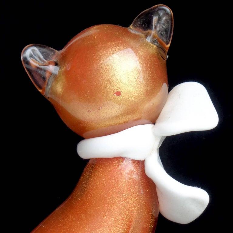 Hand-Crafted Alfredo Barbini Murano Orange Gold Flecks Italian Art Glass Kitty Cat Figure For Sale