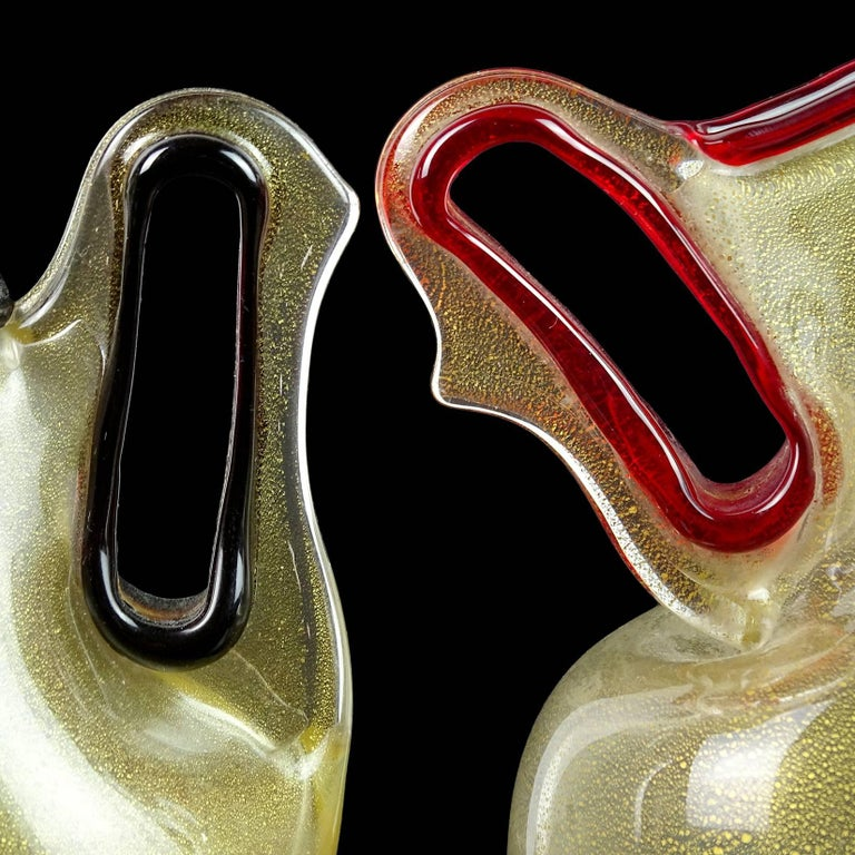 Hand-Crafted Barovier Toso Murano Red Purple Gold Flecks Italian Art Glass Pitcher Vases For Sale