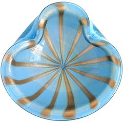 Alfredo Barbini Murano Blue, Gold, Aventurine Stripes Italian Art Glass Bowl