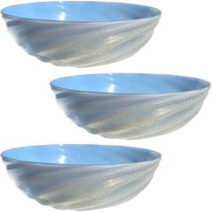 Barovier Seguso Ferro Murano Laguna Blue Gold Flecks Italian Art Glass Dishes