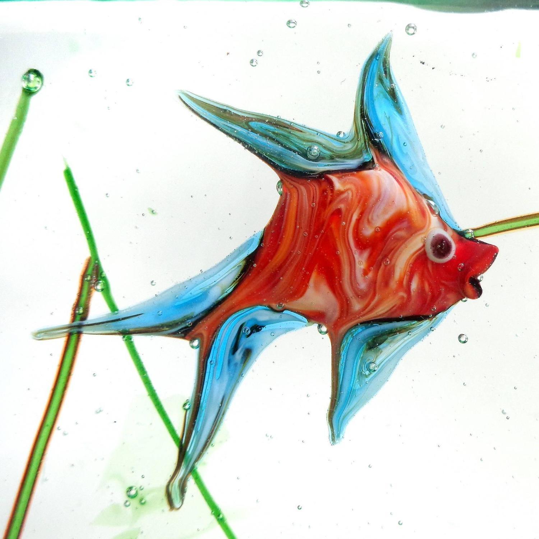 Murano Colorful Red Fish Italian Art Glass Aquarium Paperweight ...
