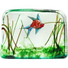 Murano Colorful Red Fish Italian Art Glass Aquarium Paperweight Sculpture