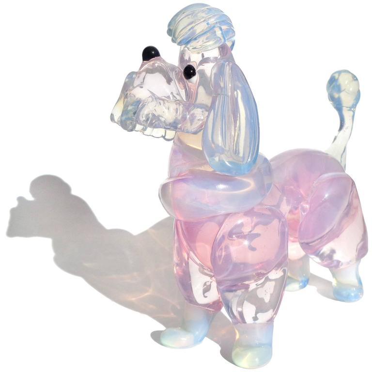 Mid-Century Modern Barovier Murano Opal Pink Blue Italian Art Glass Poodle Puppy Dog Figurines For Sale