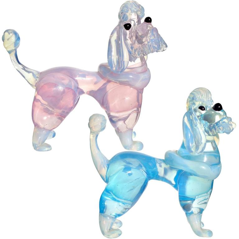 Barovier Murano Opal Pink Blue Italian Art Glass Poodle Puppy Dog Figurines For Sale