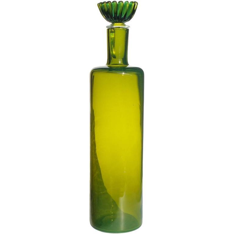 Fratelli Toso Murano Green Flower Stopper Italian Art Glass Decanter