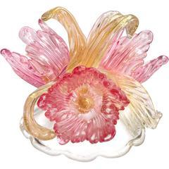 Murano Pink Flowers and Gold Italian Art Glass Centerpiece Sculpture